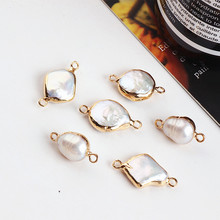 DIY ear jewelry accessories irregular natural pearl gold frame double hung earrings earrings bracelet necklace pendant