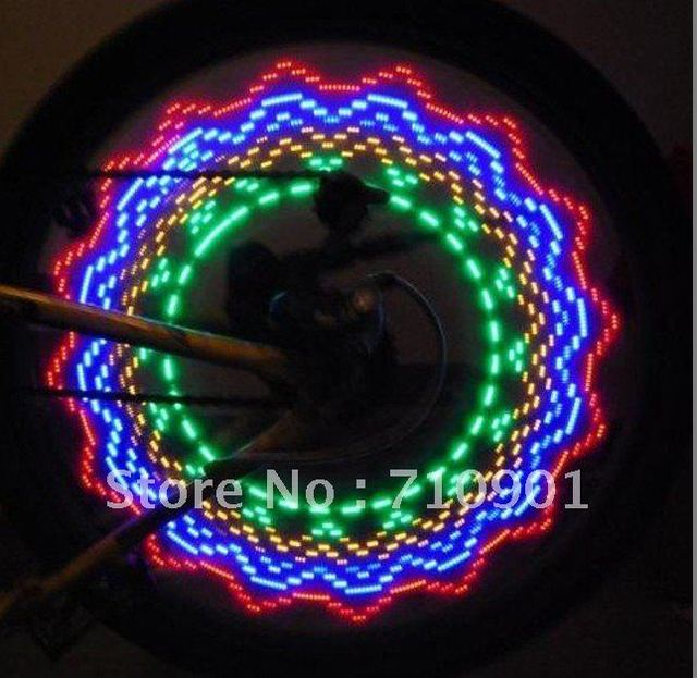 free shopping  Cycling Bike Bicycle Tire Wheel Valve 16 LED Flash Light With 32 kinds of change