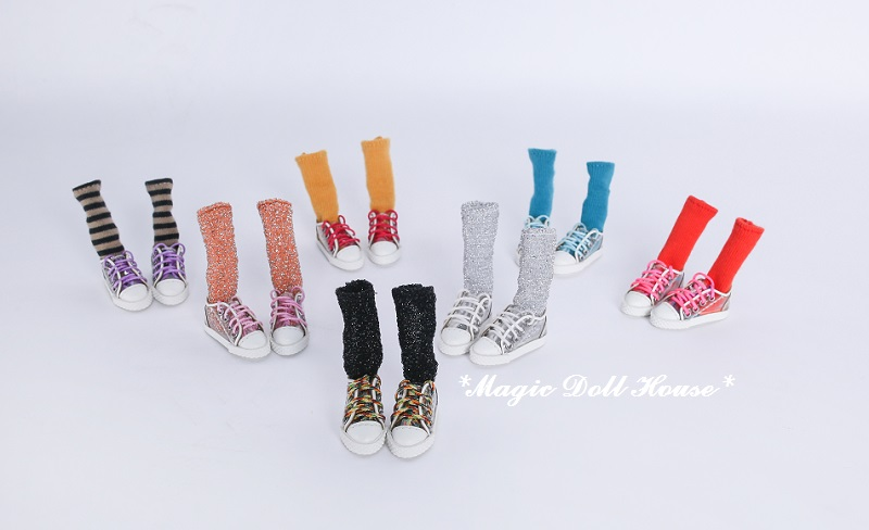 [MG647] Neoblythe Doll Shoes # Hand Made Clear PVC Shoes With 6prs Socks And Lace Fit For Blyth Azone Doll Shoes For Retail