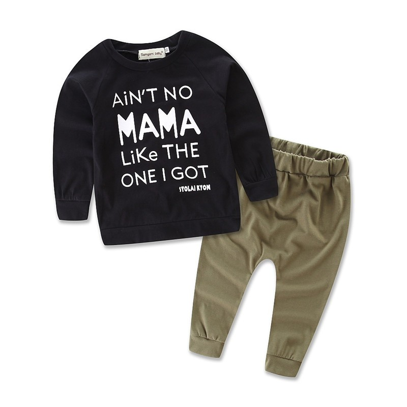 boy carter clothing Set cotton children autumn tops baby kids bobo clothes mama Letter print kids tracksuit pants+t shirts04