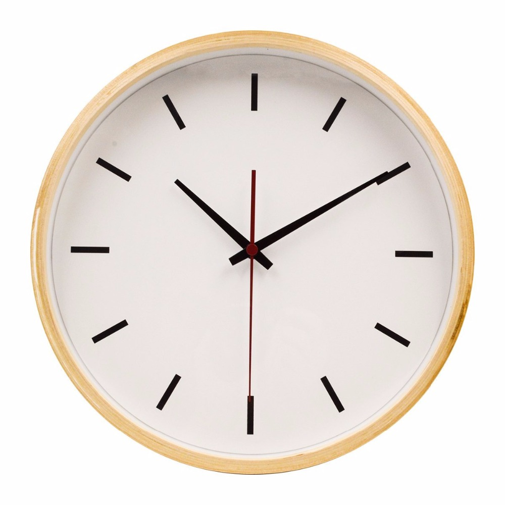 hippih 10 inches quiet sweep wall clock vintage wooden scale saat clock home decoration horloge. Black Bedroom Furniture Sets. Home Design Ideas