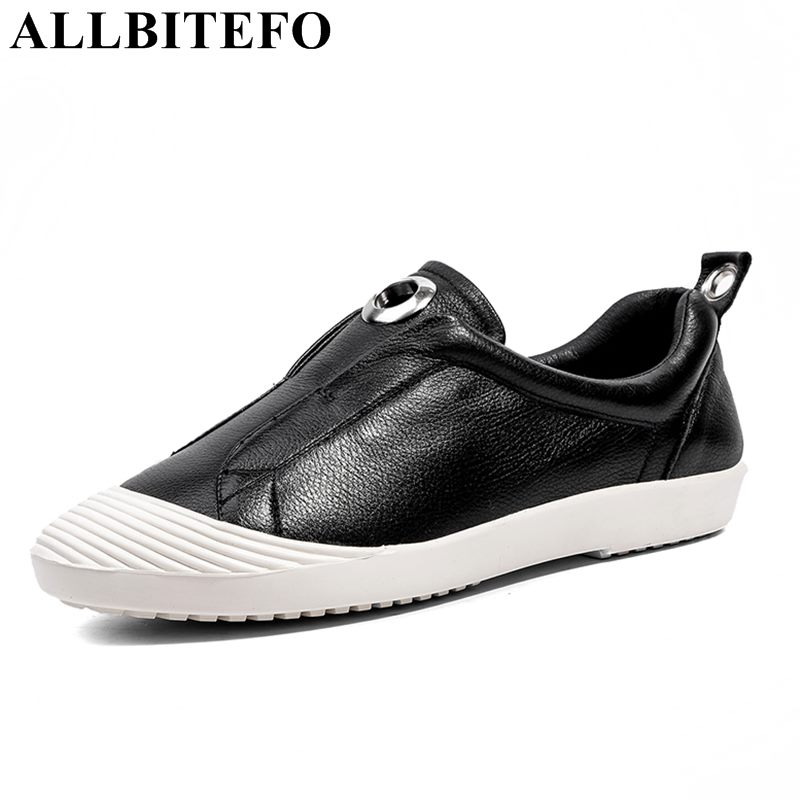 ALLBITEFO hot sale genuine leather soft surface women flats fashion casual high quality comfortable flat shoes girls shoes fashion women shoes woman flats high quality comfortable pointed toe rubber women sweet flats hot sale shoes size 35 40