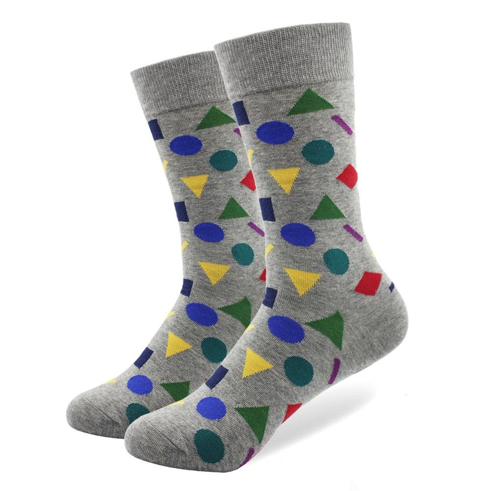 Mænds farverige Mini Diamond Combed Cotton Socks Høj kvalitet Crew - Herretøj - Foto 6