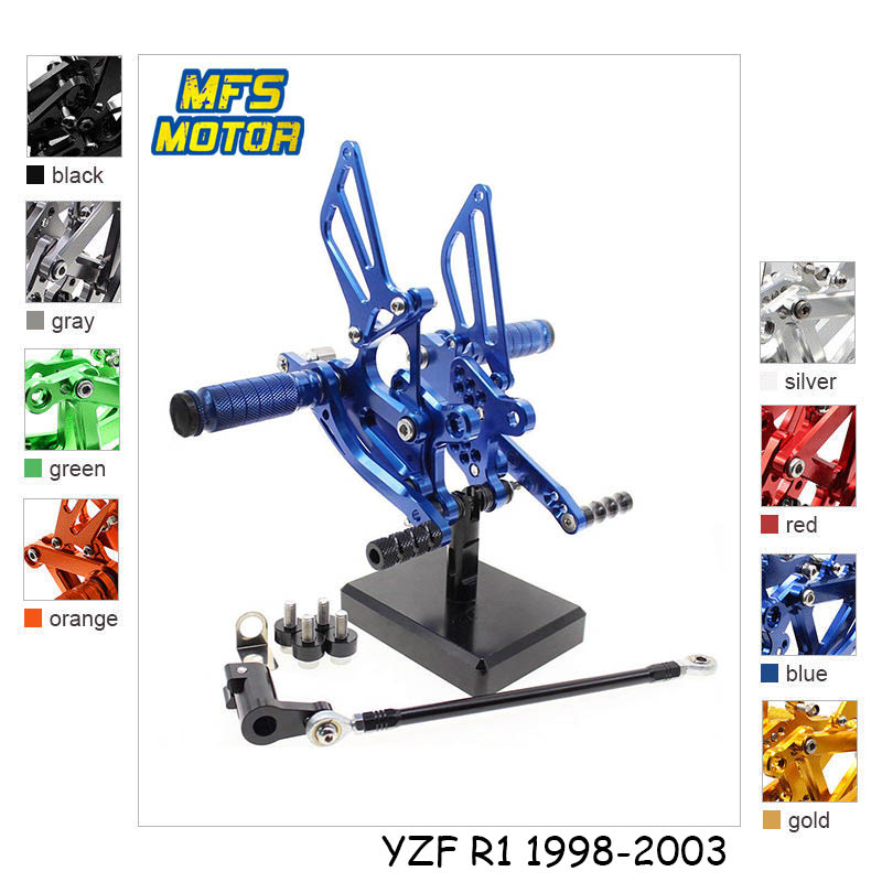 For Yamaha YZF R1 1998-2003 Motorcycle Foot Pegs Foot Rests CNC Adjustable Rearset 1999 2000 2001 2002 Footrests Footpegs Pedal