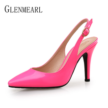 Women High Heels Wedding Pumps Sexy Pointed Toe Casual Female Shoes Fashion Ankle Strap Thin Heels Ladies Shoe New Plus Size DE cheap GLENMEARL Super High (8cm-up) Basic Buckle Spring Autumn GLPM110 Buckle Strap Fits true to size take your normal size Rubber