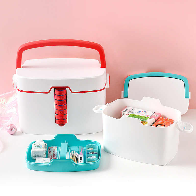 Medical Box Household Medicine Storage Box Multi-layer First Aid Kit Organizer with 7days Small Pill Boxes