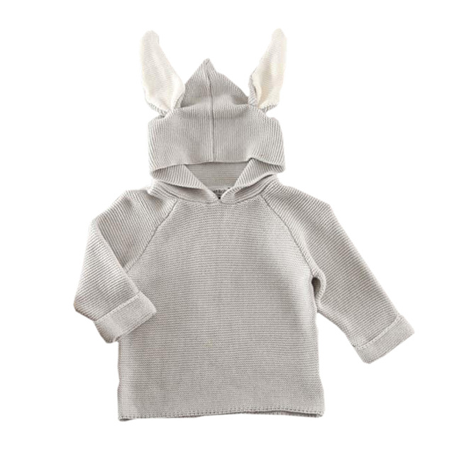 2015 New Baby Rabbit hooded Sweater Children Knitted Jumpsuit Toddler Outwear Fashion Design Jumpsuits Kids Costume CL0747
