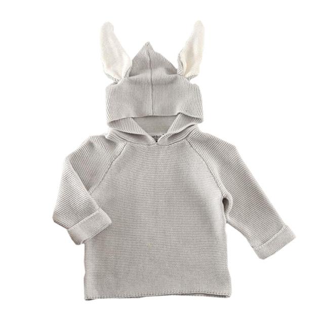 2015 Novo Do Bebê Do Coelho com capuz Camisola Crianças Camisola de Malha Macacão Criança Outwear Design de Moda Macacões Crianças Traje CL0747