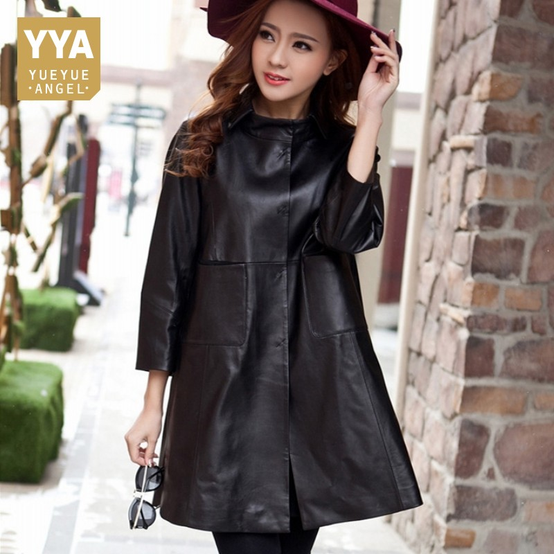 2020 New Arrival Women Coat Genuine Leather Windbreaker Black Red Lapel Fashion Design Sheepskin Ladies Long Trench Coat Autumn