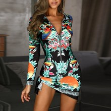 купить 2019 Fashion Floral Bird Print Mini Dress Women Office Ladies Long Sleeve Sheath Sexy Zipper Elegant Dress по цене 933.33 рублей