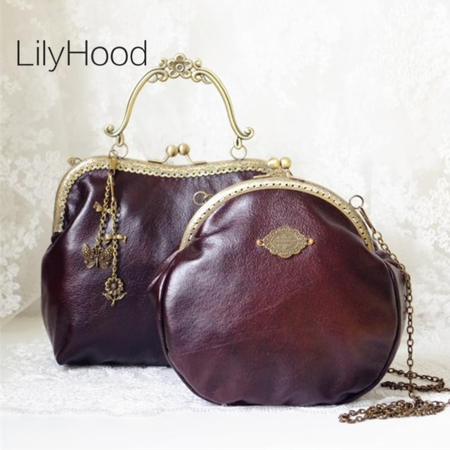 LilyHood 2017 Women Victorian Shoulder Bag Handmade Etsy Vintage Retro Chic  Brown Frame Chain PU Leather Kiss Lock Funky Bag df07b5cd22