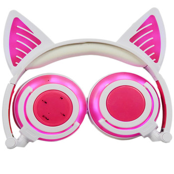 LIMSON Bluetooth Headphones Cat Ear Headset Foldable Earphone with Mic LED Light Glowing Kids for iPad, iPhone, Laptop CBW01-P