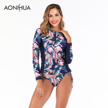 Aonihua Long Sleeve Two Piece Swimsuit Push Up Female Separate Flower Print Bandage Triangle Swim Suit