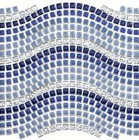 blue gradient ceramic mosaic wave shaped mixed crystal electroplating mosaic mediterranean style for courtyard floor