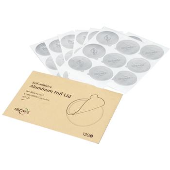 RECAPS 120 240 360 Pcs samoprzylepne aluminiowe pokrywki do napełniania puste jednorazowe wielokrotnego użytku wielokrotnego użytku kapsułki Nespresso tanie i dobre opinie adhesive aluminum Ponad osiem częściowy zestaw 120 pcs adhesive aluminum Nespreso seal 120 pcs Seals Nespresso Capsule
