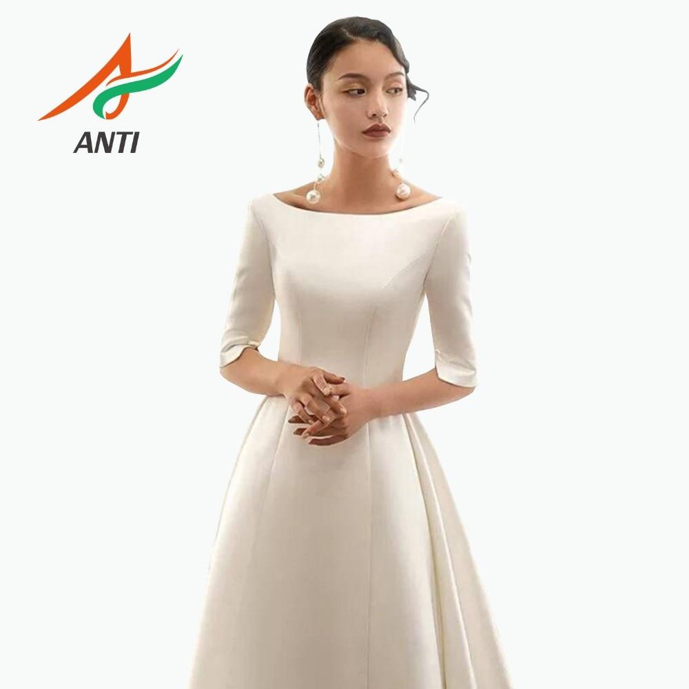 ANTI Modest Half Sleeve Wedding Dresses Turkey Scoop Satin Muslim A-line Bridal Gown with Bow Special Designs Vestidos de Novia