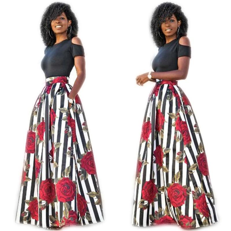 Two Pieces Casual Women Maxi Dresses Short Sleeve Black Top Long Pattern Floral Dress Plus Size 6XL 1