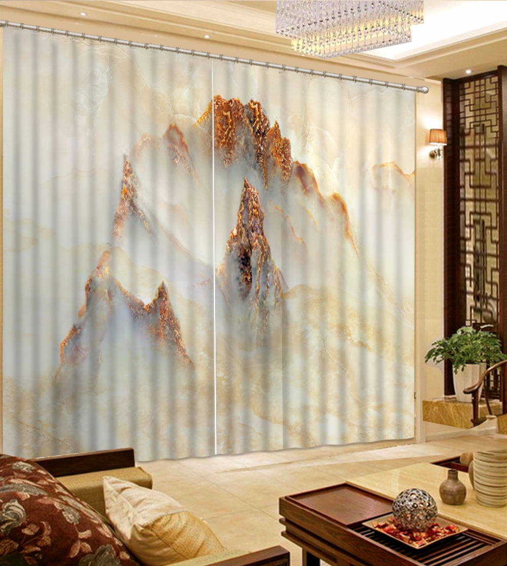 Chinese Living room Curtains The marble Sheer Curtains For Kitchen ...