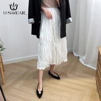 U SWEAR New Arrival Fashion Women Pleated Skirt High Waist Loose Vintage Mid Calf Elegant Preppy Style Solid Vestidos Female