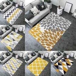 Casa arte amarelo cinza geométrico impresso tapete de banho prático decorativo nenhum-deslizamento grande retângulo flanela sala de estar esteira do banheiro
