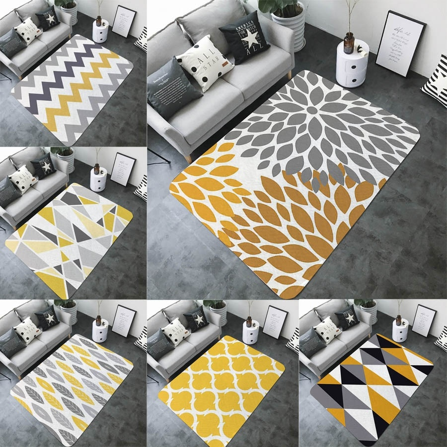 Home Art Yellow Gray Geometric Printed Bath Mat Practical Decorative None-slip Big Rectangle Flannel Living Room Mat Bathroom