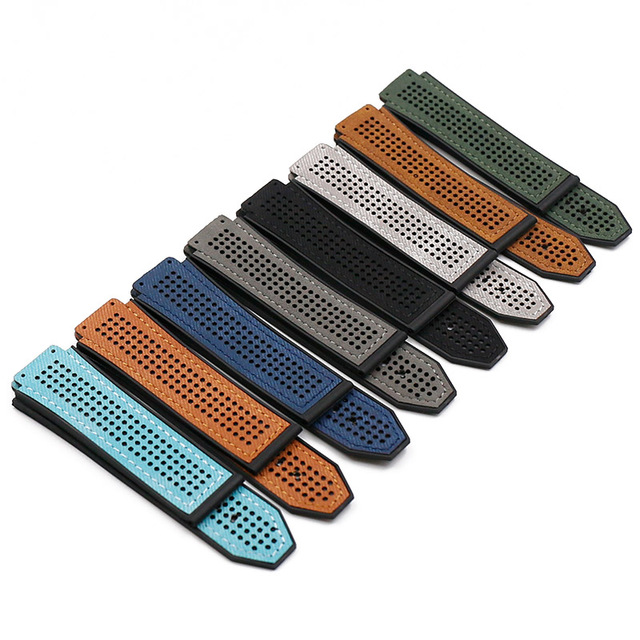 Rubber strap men's watch accessories for HUBLOT leather strap buckle waterproof breathable bracelet watch band 25mmx19mm