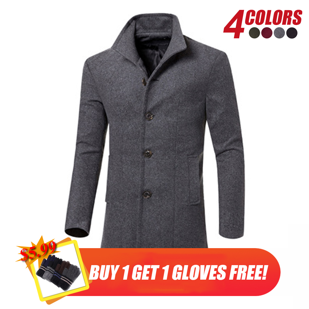 Men Winter Long Coat 2018 New Fashion Trench Coats Mens Overcoat Single Breasted Slim Fit Wool Trench Coat 3XL