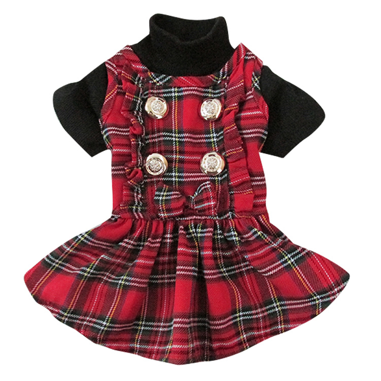 Free Shipping New Arrival Classical Scottish font b tartan b font lace Pet Dog dress Spring