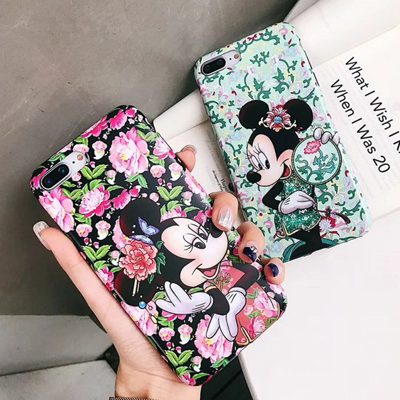 Chinese style embroidery Minnie flower <font><b>Mickey</b></font> Soft TPU Case for <font><b>coque</b></font> <font><b>iPhone</b></font> X 7 8Plus <font><b>6s</b></font> 6plus XS MAX Cover Accessories image