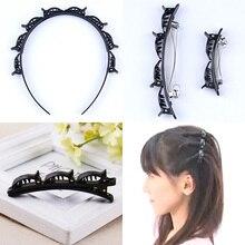 1 PC Mulheres Hairpin Franja Lateral Dupla Camada Clipe Updo Headwear Ferramenta Banda Headband Acessório Do Cabelo