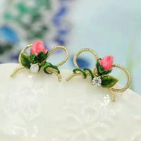 rose pearl jewelry stud earrings