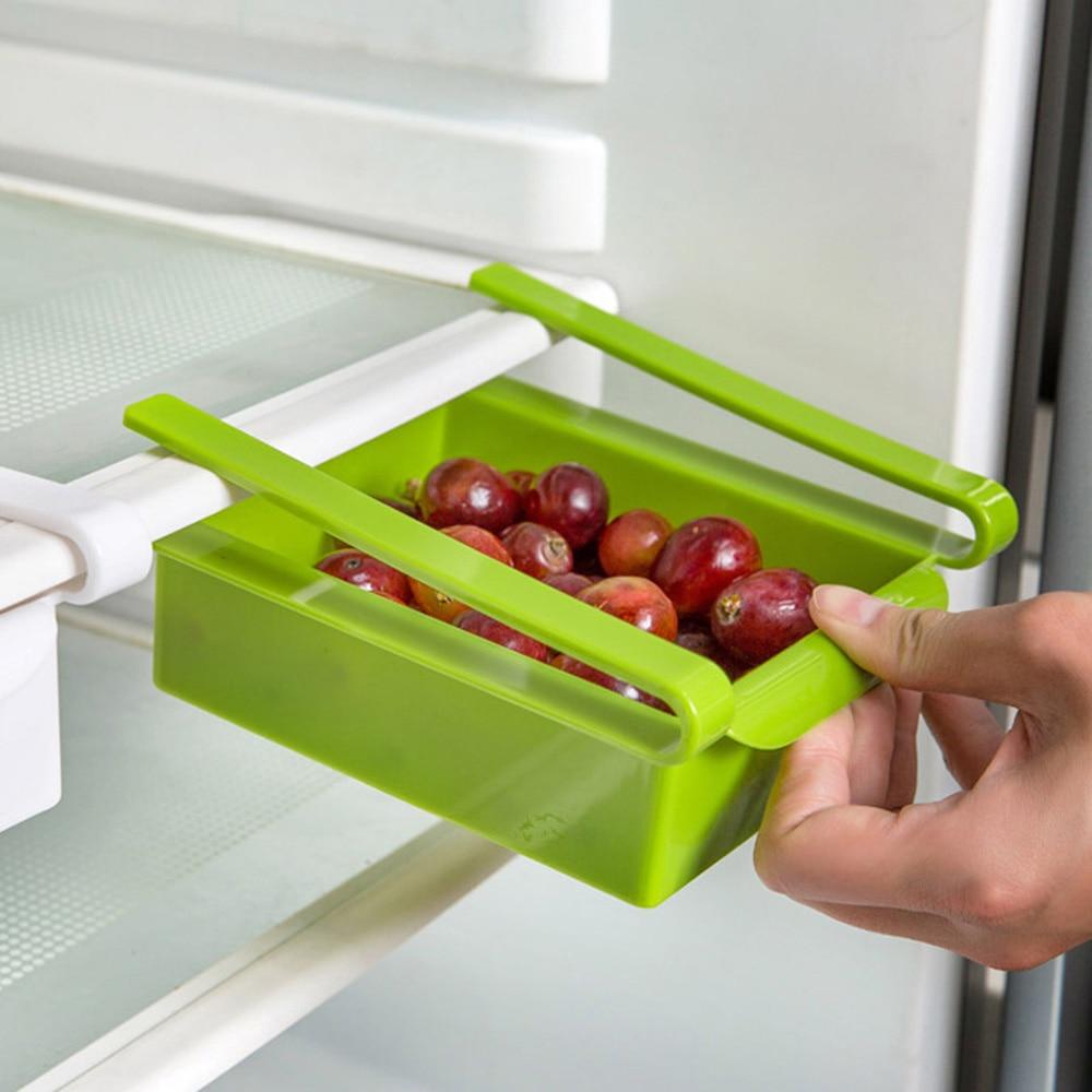1Pcs Creative Storage Boxes Plastic Refrigerator Storage Rack Fridge Freezer Shelf Holder Pull-out Drawer Organiser Space Saver