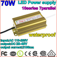 2pcs/lot1X70W Waterproof Constant Current Driver 10series7parallet70w ball LED Driver Power Supply 85 265V to DC20 40V Wholesale