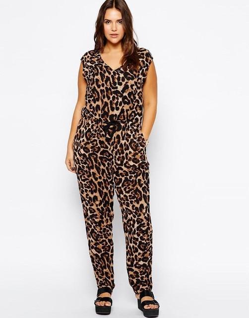 Sexy V-neck Plus Size Leopard Jumpsuits 2016 6XL Big Large Size Women Summer Jumpsuit 5XL Lady Loose Sleeveless Clothing 4XL 3XL
