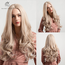 Blonde Unicorn Synthetic Wig 26 Inch Long Wavy Hair Center Parting