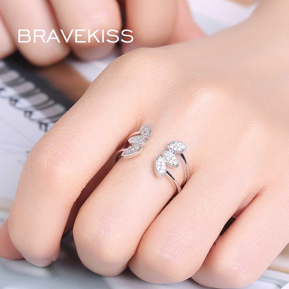BRAVEKISS יוקרה עלים עלים מפוצל מתכוונן להרחיב טבעת לנשים גברים מתנה אצבע טבעות תכשיטי Fahion 2019 תכשיטי BUR0375