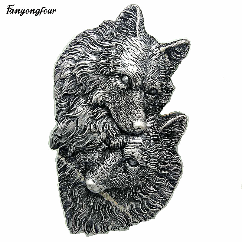 Silicone Mold Double Wolf Head Indoor Wall Decoration Tool Manual Mold Silicone Resin Gypsum Concrete 3d Mold