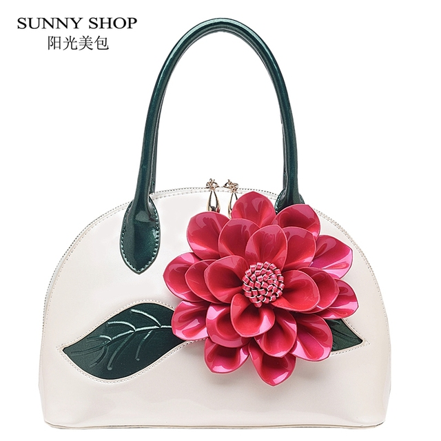 SUNNY SHOP 2017 New Flower Women Bag High Quality Patent PU leather Handbags  Valentine's Gifts For Woman Fashion Messenger Bag