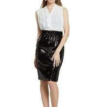 New Women Skirt 2019 Summer Knee Length Pencil Skirt Sexy Sequin Elegant Bodycon Skirts High Waisted Stretch Office Midi Skirt retro high waisted ruffled houndstooth midi skirt