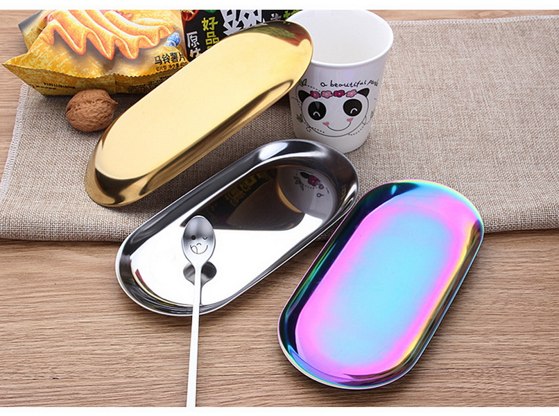 DHL 50pcs Colorful Metal Storage Tray Gold Oval Dotted Fruit Plate Small Items Jewelry Display Tray