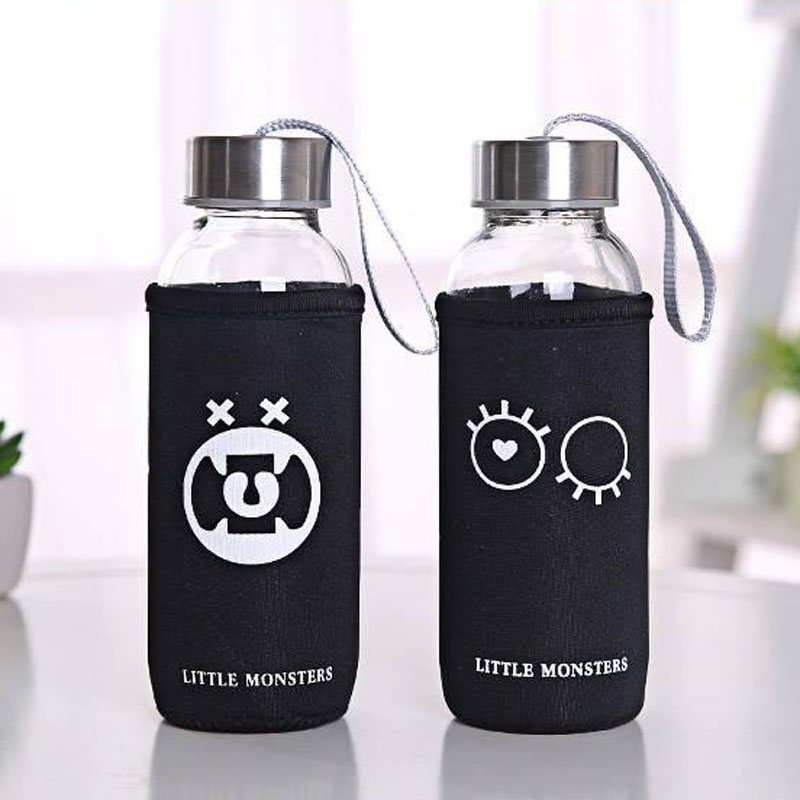 Water-Bottle Tumbler Drinkware 300ml Glass Transparent Fruit with Sleeve Outdoor