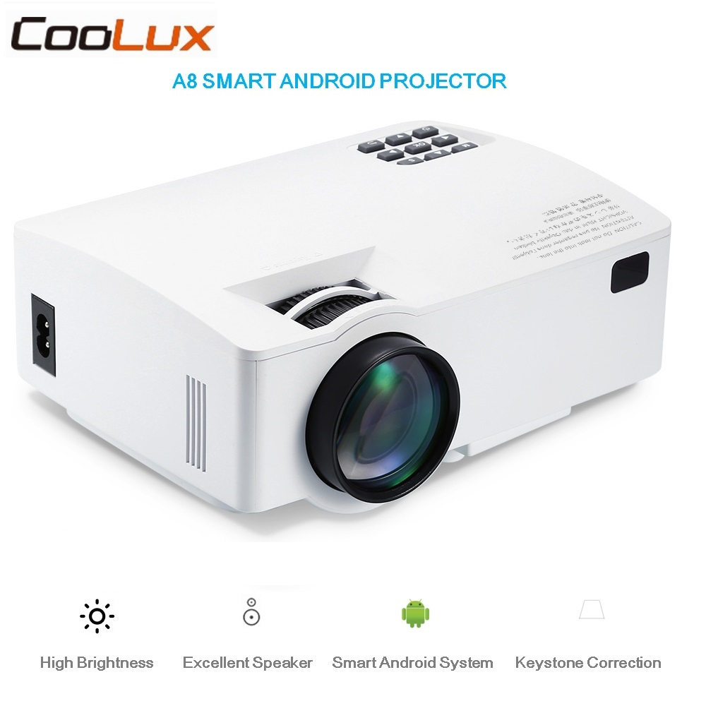 Coolux A8 Smart Android Projector 1500LM 854*480 Support HD 1080P BT4.0 HDMI 4K Video Home Theater LCD Proyector 2.4/5.0GHz Wifi protective flip open pu leather case w holder card slot for iphone 5 5s light brown