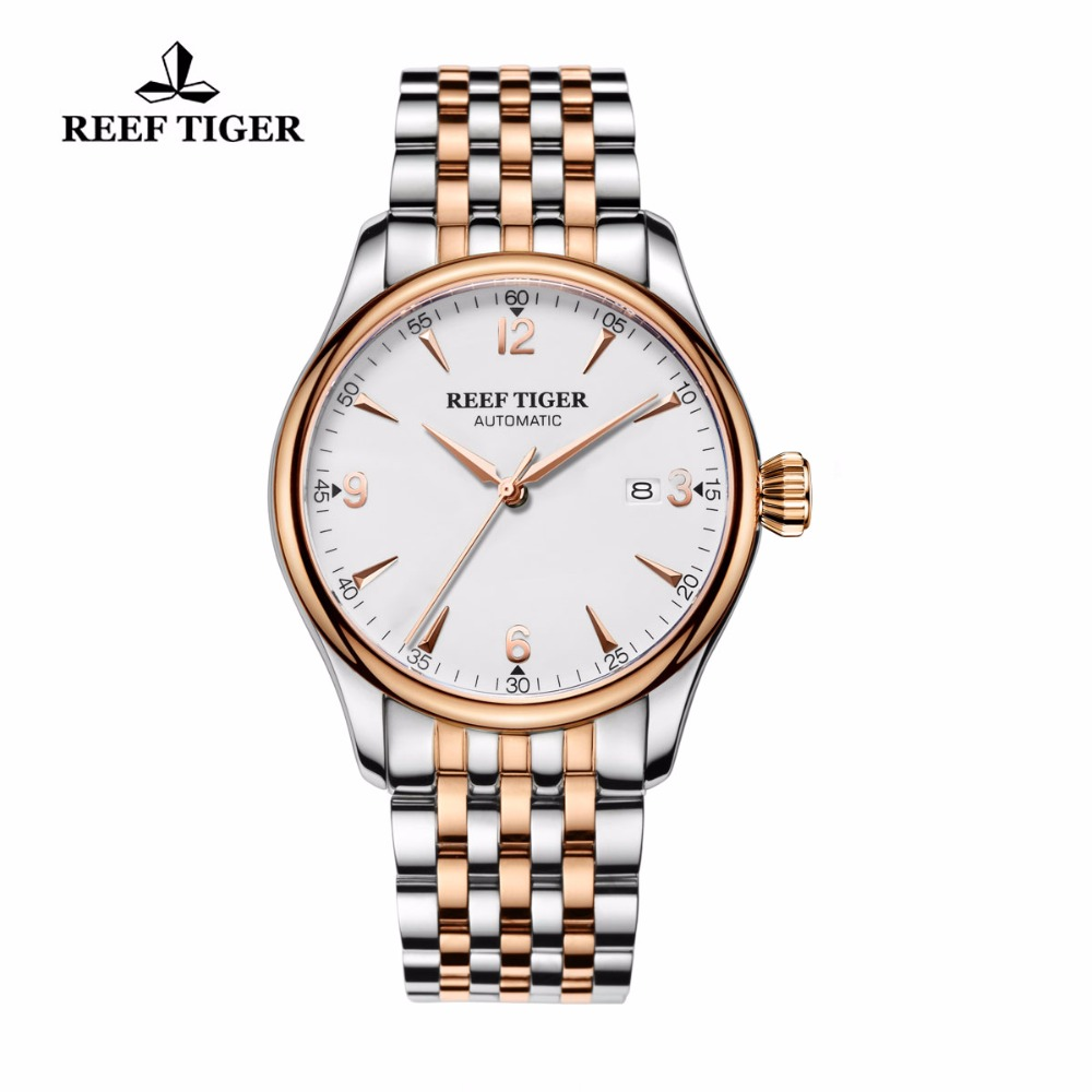 New 2019 Reef Tiger/RT Mens Top Luxury Analog Automatic Watches White Dial Simple Style Watch RGA823GNew 2019 Reef Tiger/RT Mens Top Luxury Analog Automatic Watches White Dial Simple Style Watch RGA823G