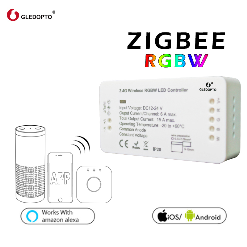 GLEDOPTO ZIGBEE bridge Led Controller RGBW dimmer strip Controller DC12/24V comptible with LED echo zll standard LED new led zigbee led rgbw controller 12v 24v lightify tradfri compatible led controller rgbw zigbee controller zll app controller