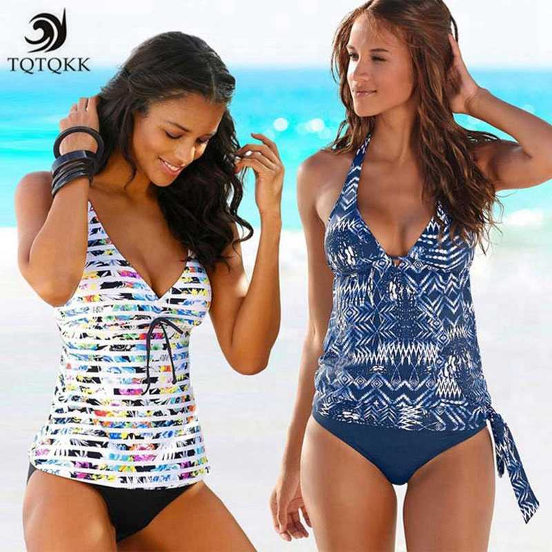 f8f10117a5 TQTQKK2019 Two Piece Tankini Swimsuits Women Swimwear Vintage Print Plus  Size Swimwear Women Padded Bathing suit Bikini set XXXL