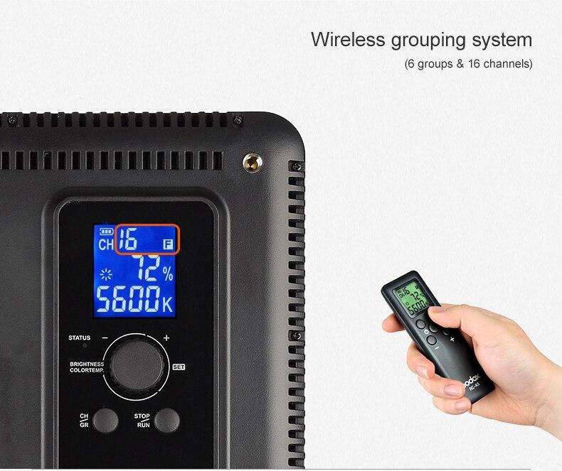 Godox LED P 260C LED panneau lumineux de lampe vidéo 3300K ~ 5600K pour caméra + adaptateur secteur - 6