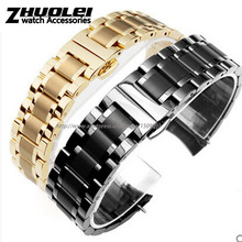 High quality black gold Flat end curved end stainless steel watchband bracelet men 18mm 19mm 20mm 22mm free shipping