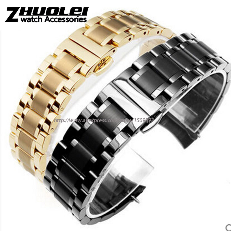 High quality black|gold Flat end|curved end stainless steel watchband bracelet men 18mm 19mm 20mm 22mm free shipping цена