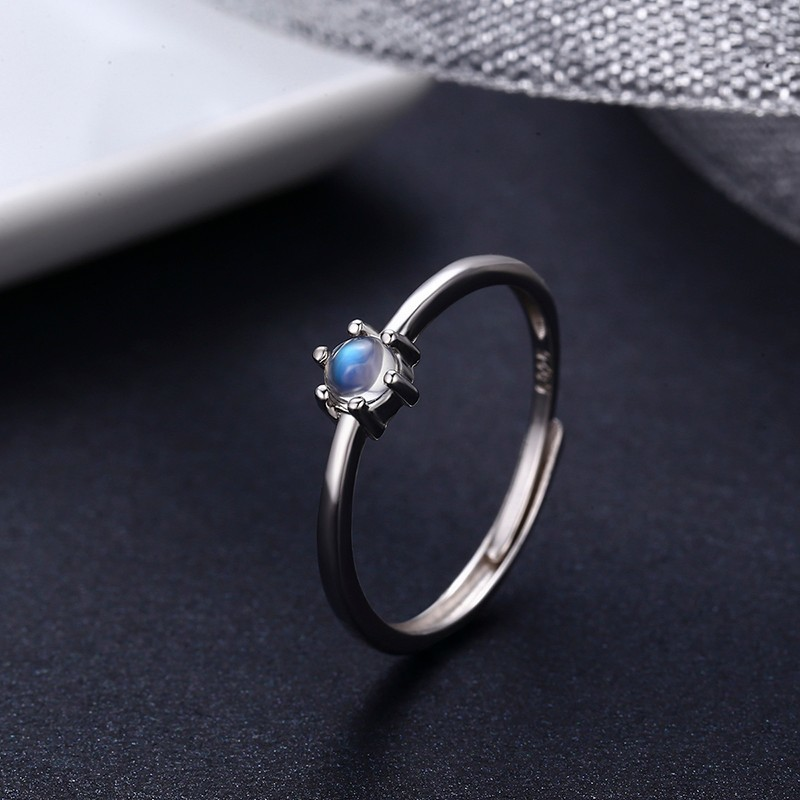 925 Sterling Silver Round 7A Blue Natural Moonstone Rings For Women Wedding Engagement Jewelryg Girls Finger Bague Aneis Anillo