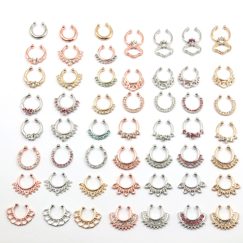 2015 New Arrival Multiple Design Crystal Rose Gold Nose Rings And